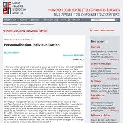 Personnalisation, individualisation