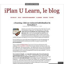 e-learning : doit-on vraiment individualiser la formation ?