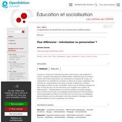 Pour différencier: individualiser ou personnaliser?