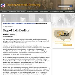 Rugged Individualism by Herbert Hoover