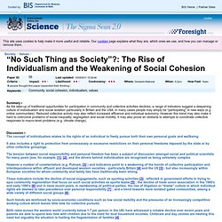 """No Such Thing as Society""?: The Rise of Individualism and the Weakening of Social Cohesion · Sigma Scan"