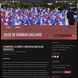 Le Bonheur, la Liberté, l'Individualisme selon Tocqueville - Blog de Romain GAILLARD