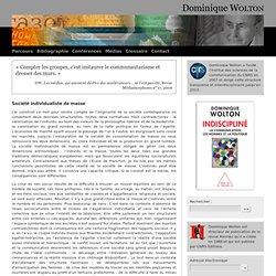 Société individualiste de masse - Dominique WOLTON