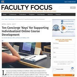 Ten Concierge 'Keys' for Supporting Individualized Online Course Development