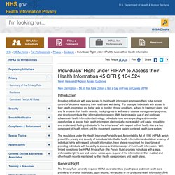 Individuals' Right under HIPAA to Access their Health Information