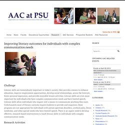 AAC at Penn State | Improving literacy outcomes for individuals with complex communication needs