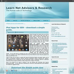 iPad Apps for individuals wirh Special Educational Needs - download a simple guide.