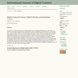 Digital Curation for Science, Digital Libraries, and Individuals