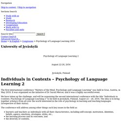 Matters of Individuals in Contexts – Psychology of Language Learning 2