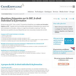 Questions DIF, droit individuel à la formation - CrossKnowledge