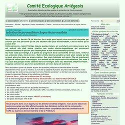 Individus électro-sensibles et hyper électro-sensibles - Comité Ecologique Ariégeois