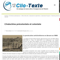 L'Indochine précoloniale et coloniale (ressources de documents intéressants)