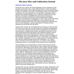 Indonesia - The Java War and Cultivation System