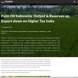 Palm Oil Indonesia: Output & Reserves up, Export down on Higher Tax India