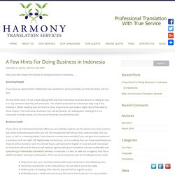 A Few Hints For Doing Business In Indonesia