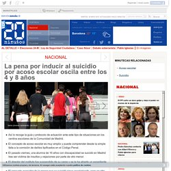 La pena por inducir al suicidio por acoso escolar oscila entre los 4 y 8 años