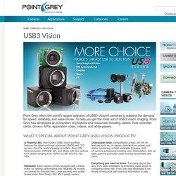 USB3 Vision cameras for industrial, life science, traffic, and security applications. Point Grey USB 3.0, Gigabit Ethernet and FireWire Machine Vision Cameras