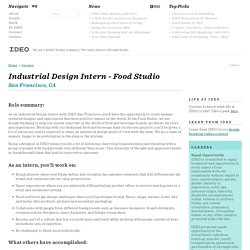 Industrial Design Intern - Food Studio