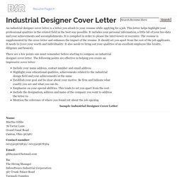 Industrial Designer Cover Letter for Resume
