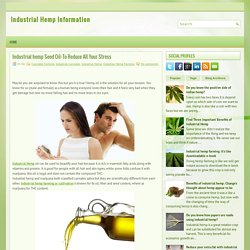 Industrial hemp Seed Oil: To Reduce All Your Stress ~ Industrial Hemp Information