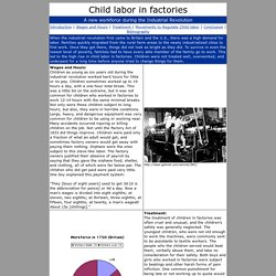 Child labor in Factories During the Industrial Revolution