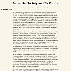 Industrial Society and Its Future
