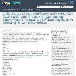 Global Industrial Lead Acid Battery 2017 Market Key Players BAE, Alpha Group, NorthStar, Bulldog Battery, Panasonic Battery, C&D Technologies, Exide Technologies, GS Yuasa, Furukaw