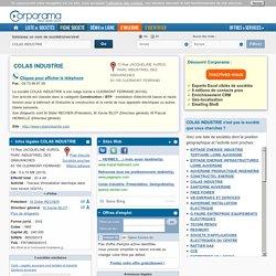 Société COLAS INDUSTRIE à CLERMONT FERRAND, 63100 (SIREN 865200315) : infos légales, contacts et actualités sur Corporama