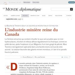 L'industrie minière reine du Canada, par Alain Deneault et William Sacher