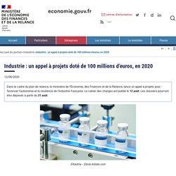 Industrie : un appel à projets doté de 100 millions d'euros, en 2020
