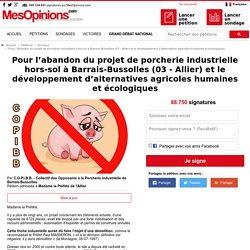 Pour l'abandon du projet de porcherie industrielle hors-sol à Barrais-Brussolles (03 - Allier) et le développement d'alternatives agricoles humaines et écologiques