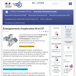 Sciences et Techniques Industrielles - Enseignements d'exploration SI et CIT