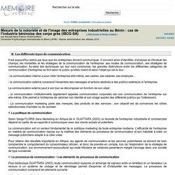 Mesure de la notoriété et de l'image des entreprises industrielles au Bénin : cas de l'industrie béninoise des corps gras (IBCG-SA) - Noundé René Patrick N'VEKOUNOU