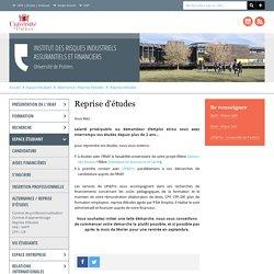 Université de Poitiers - Institut des Risques Industriels Assurantiels et Financiers - Reprise d'études
