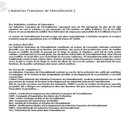 Design & annuaire des designers, arts appliqués, meubles design, Industries française de l'ameublement