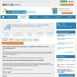 HORIZON 2020 - (9.4.) ARTICLE 187 - JTI BIO-INDUSTRIES - Programme from European Commission