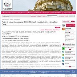 Projet de loi de finances pour 2018 : Médias, livre et industries culturelles : Presse