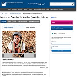 Master of Creative Industries (Interdisciplinary)