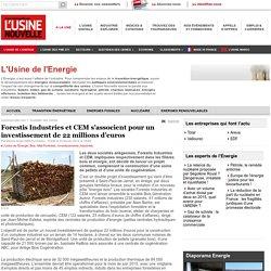 Forestis Industries et CEM s'associent pour un investissement de 22 millions d'euros - L'Usine de l'Energie