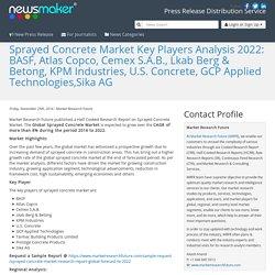 Sprayed Concrete Market Key Players Analysis 2022: BASF, Atlas Copco, Cemex S.A.B., Lkab Berg & Betong, KPM Industries, U.S. Concrete, GCP Applied Technologies,Sika AG