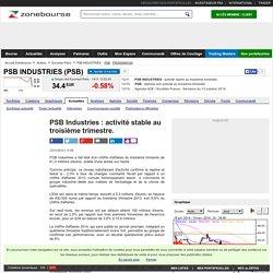 PSB Industries : activité stable au troisième trimestre.