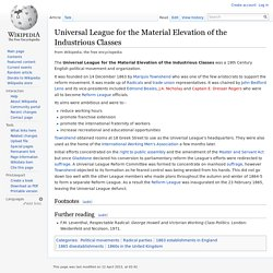 Universal League for the Material Elevation of the Industrious Classes