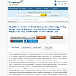 Off-grid Power Systems for Remote Sensing Market - Industry Analysis, Forecast 2016 – 2024