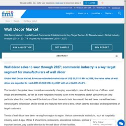 Wall Decor Market: Global Industry Analysis, Size and Forecast, 2018 to 2027