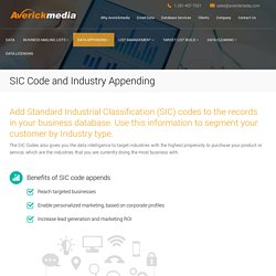 SIC Code and Industry Appending
