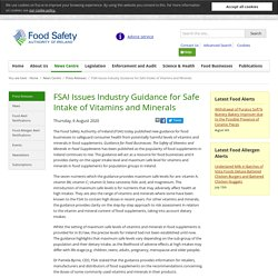 FSAI_IE 06/08/20 FSAI Issues Industry Guidance for Safe Intake of Vitamins and Minerals