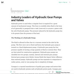 Industry Leaders of Hydraulic Gear Pumps and Valves – Medium