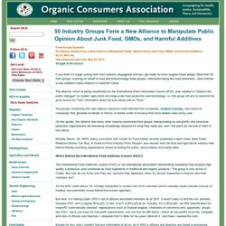 50 Industry Groups Form a New Alliance to Manipulate Public Opinion About Junk Food, GMOs, and Harmful Additives