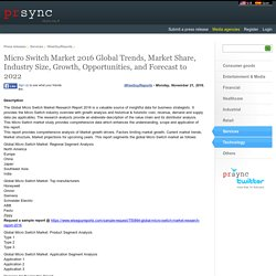 Micro Switch Market 2016 Global Trends, Market Share, Industry Size, Growth, Opportunities, and Forecast to 2022