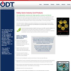 Hobby Game Industry Products - On Demand Technologies